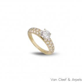 Van Cleef & Arpels 18k Yellow Gold Diamond Ring 0.79ct